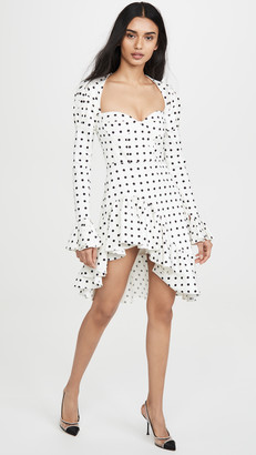 Giuseppe di Morabito Polka Dot Puff Sleeve Asymmetrical Mini Dress