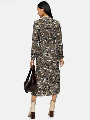 Topshop Tall Paisley Ruffle Midi Shirt Dress - Multi