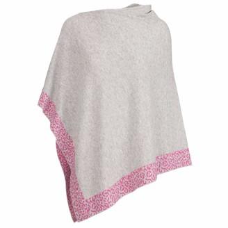 At Last... Cashmere Poncho Light Grey & Pink Leopard Trim