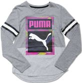 Puma Girls 7-16 Striped Sleeve V-Neck Graphic Tee