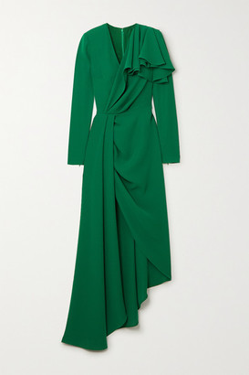 Elie Saab Ruffled Draped Asymmetric Cady Midi Dress - Green