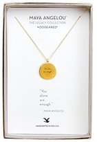 "Dogeared Women's 925 Sterling Silver Maya Angelou Collection ""Be Present In All Things"" Quote Pendant Necklace of Length 45.72cm"