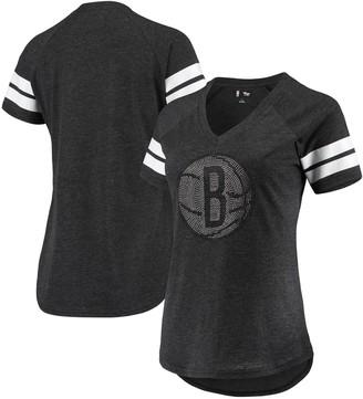 G Iii Women's G-III 4Her by Carl Banks Black Brooklyn Nets Triple Double Rhinestone Tri-Blend V-Neck T-Shirt