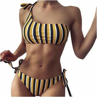 Henri Women Swimwear Bikini Set Strip One Shoulder Top Tie Side Bottom Swimsuit for Women Ladies High Waisted Bikini Tie High Cut Two Piece Swimsuits Yellow