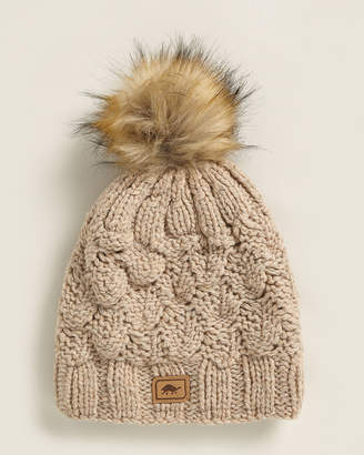 Nude Lucy Turtle Fur Hand Knit Beanie With Faux Fur Pom