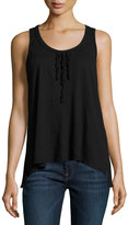 W by Wilt Ruffled Cotton Scoop Tank, Black
