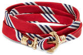 Brooks Brothers Kiel James Patrick Red Mini BB#1 Stripe Wrap Bracelet