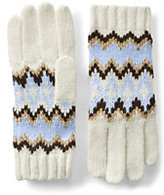Lands' End Women's Winter Fair Isle Gloves-Vibrant Sapphire Check