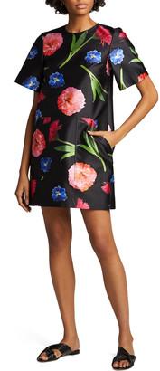 Carolina Herrera Floral Mikado Short-Sleeve Shift Dress