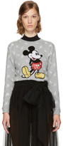 Marc Jacobs Grey Shrunken Broderie Anglaise Mickey Mouse Sweatshirt