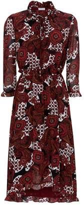 Claudie Pierlot Pussybow Tie Print Dress