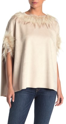 Love Token Faux Fur Trimmed Poncho
