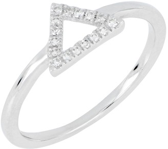 Carriere Sterling Silver Pave Diamond Open Triangle Stacking Ring - 0.08 ctw