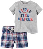 "Carter's Baby Boy Little Fire Cracker"" Tee & Plaid Shorts Set"