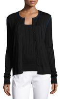 St. John Engineered Rib-Knit Jewel-Neck Cardigan, Caviar/Azzurine