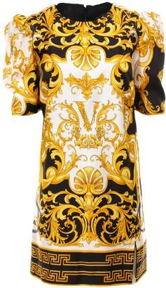 Versace Printed Short Sleeve Mini Dress