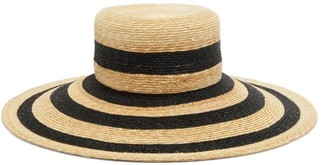 Eliurpi - Striped Straw Hat - Womens - Black Stripe