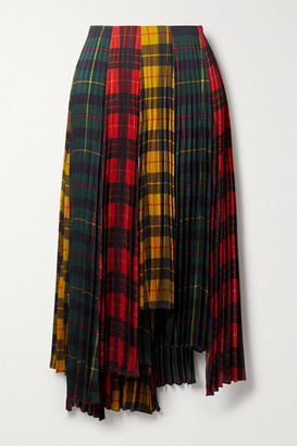 Monse Asymmetric Pleated Checked Twill Skirt - Red