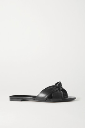 Saint Laurent Power Knotted Leather Slides - Black