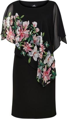 Wallis Black Floral Print Sheer Overlay Dress