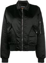 Filles a papa Fame print satin bomber jacket