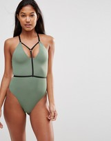 Asos Elastic Harness Contrast Plunge Swimsuit