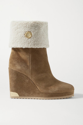 Moncler W Short Shearling-lined Suede Wedge Ankle Boots - Tan