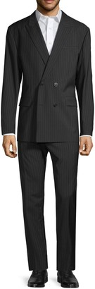 HUGO BOSS Standard-Fit Double-Breasted Pinstripe Virgin Wool Suit