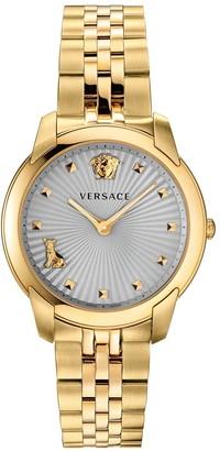 Versace AudreyGrey Dial Gold Plated Stainless Steel Bracelet Ladies Watch