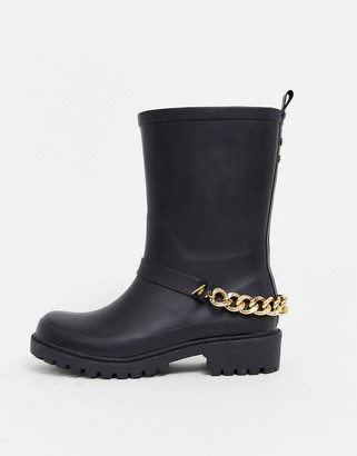 Asos Design DESIGN Grove chunky biker wellies with chain-Black