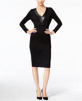 Catherine Malandrino Corey Faux-Leather-Trim Sheath Dress
