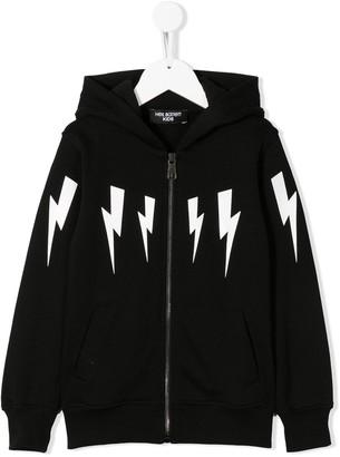 Neil Barrett Kids long sleeve lightning bolt logo hoodie
