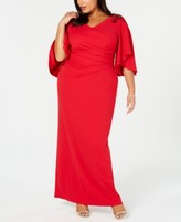 Adrianna Papell Plus Size Embellished Draped Gown