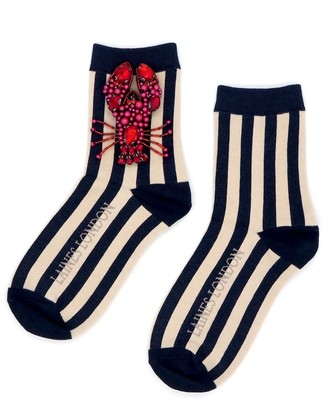 Laines London Navy & Cream Stripe Cotton Socks With Statement Beaded Lobster Brooch