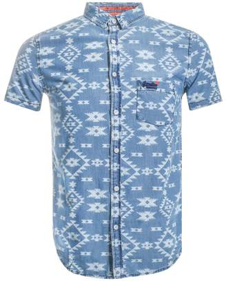 Superdry Short Sleeved Miami Loom Shirt Blue
