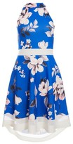 Dorothy Perkins Womens *Quiz Royal Blue And Pink Floral Print Fit And Flare Dress, Royal Blue
