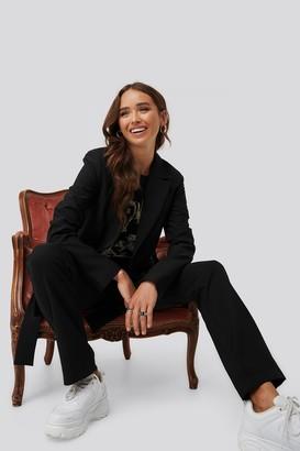 NA-KD Erica Kvam X Front Tie Oversized Blazer Black