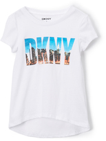 DKNY Bright White Cityscape Hi-Low Top - Girls