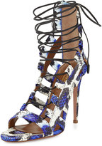 Aquazzura Amazon Lace-Up Snakeskin Sandal, Blue/White