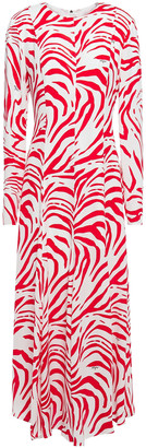 MSGM Zebra-print Crepe Maxi Dress