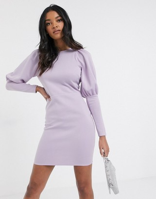 Laced In Love mini dress with exaggerated shoulder in ultra violet