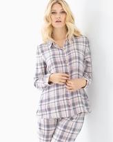 Soma Intimates Cotton Blend Pajama Top Peace And Joy Plaid Ivory