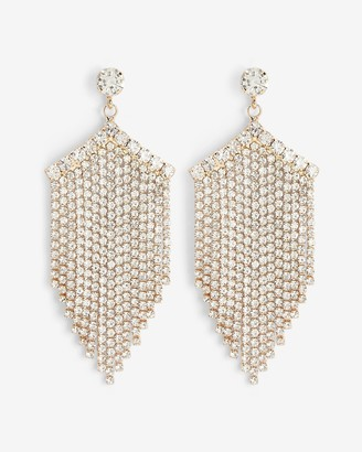Express Stone Post Pave Fringe Drop Earrings