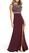 Mac Duggal Women's Open Back Beaded Gown