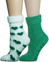 VH Apparel 2 Pair Fuzzy Chenille Socks Non-Skid Lavender Infused Green