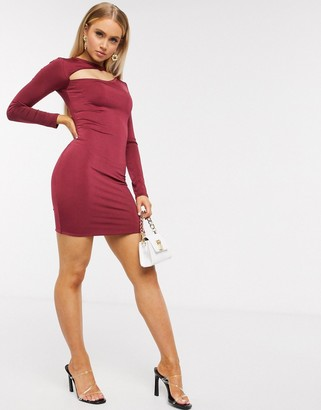 I SAW IT FIRST double layered cut out dress in red