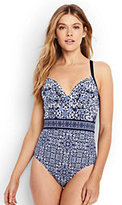 Classic Women's Long Underwire Draped One Piece Swimsuit-Deep Sea Mixed Medallion