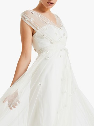 Phase Eight Yazmina Embroidered Sheer Bridal Dress, Pale Cream