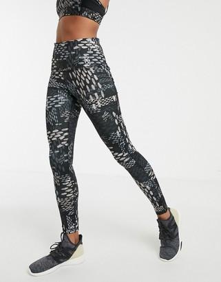 Reebok Training high waisted leggings in all over print-Black