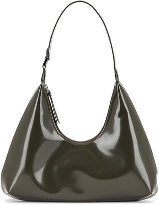 BY FAR Amber Semi Patent Leather Shoulder Bag in Dark Green | FWRD
